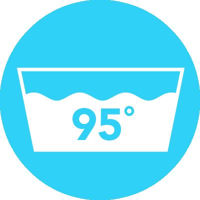 Icon waschbar bei 95°