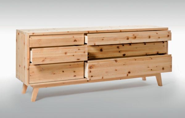 HUBERT-FELDKIRCHER_Sideboard_Pinus_Schubladen-geöffnet